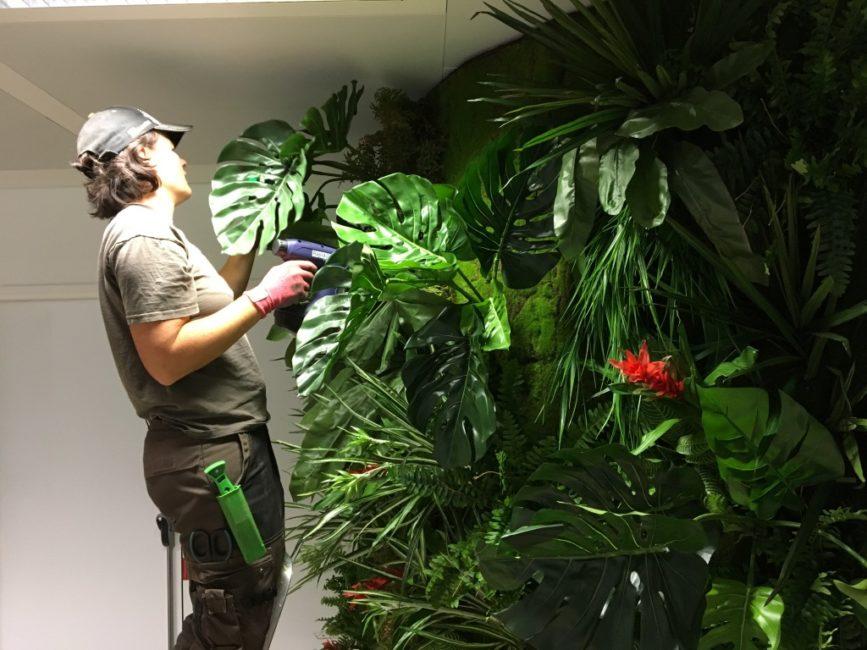 Installation d'un mur végétal en plantes artificielles
